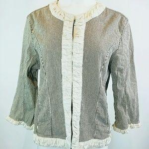 DRESSBARN Sz XL Jacket Pinstripe Cream Brown Boho